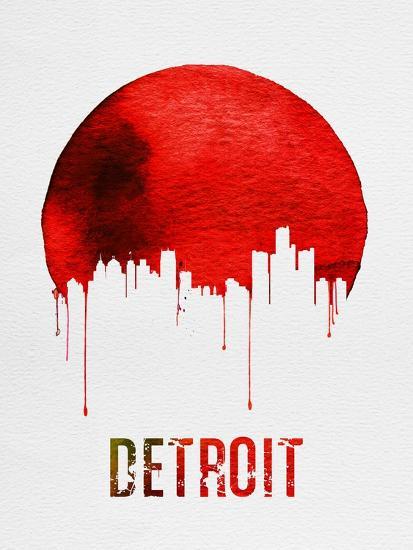 Detroit Skyline Red--Art Print
