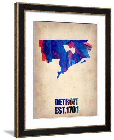 Detroit Watercolor Map-NaxArt-Framed Art Print