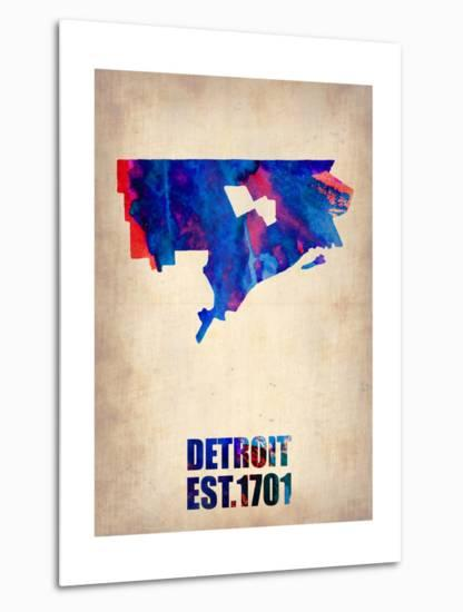 Detroit Watercolor Map-NaxArt-Metal Print