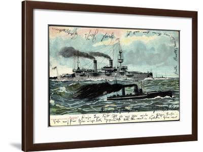 Deutsches Kriegspanzerschiff Hagen Mit Eskorte--Framed Giclee Print