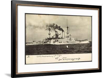 Deutsches Kriegsschif S.M.S. Mecklenburg in Fahrt--Framed Giclee Print