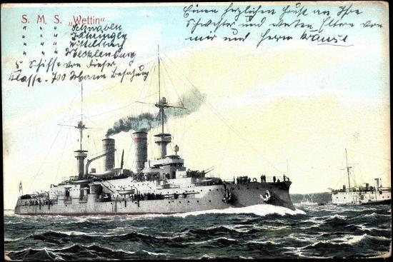 Deutsches Kriegsschiff S.M.S. Wettin in Fahrt--Giclee Print