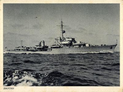 Deutsches Kriegsschiff, Zerstörer in Fahrt, Wellen--Giclee Print