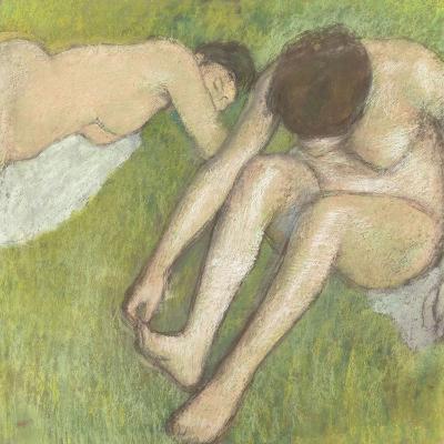 Deux baigneuses sur l'herbe-Edgar Degas-Giclee Print