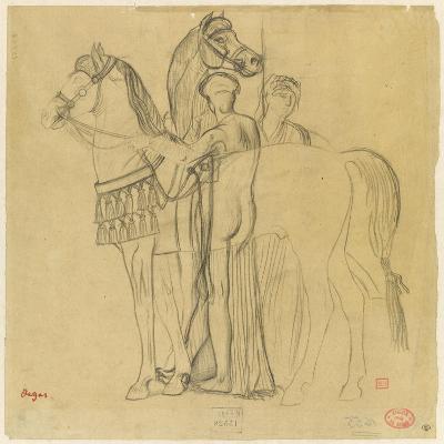 Deux chevaux conduits par deux femmes-Edgar Degas-Giclee Print