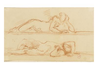 Deux études d'homme nu allongé l'un sur le côté l'autre sur le dos-Gustave Moreau-Giclee Print