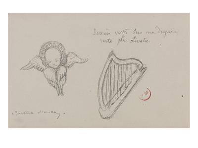Deux études. Harpe, Séraphin-Gustave Moreau-Giclee Print