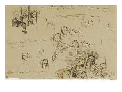 Deux études pour le Tasse à demi-étendu et des fous derrière les barreaux-Eugene Delacroix-Giclee Print