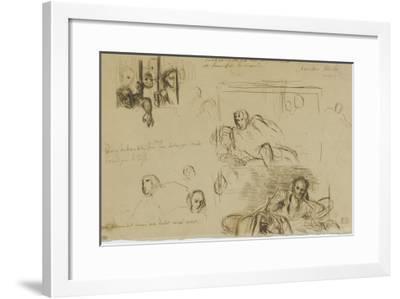 Deux études pour le Tasse à demi-étendu et des fous derrière les barreaux-Eugene Delacroix-Framed Giclee Print