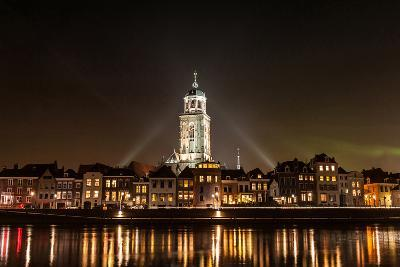 Deventer at Night View from the Other Side of the Ijssel- erpeewee-Photographic Print