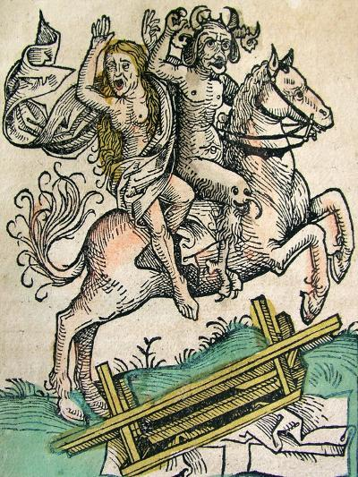 Devil and a Woman on Horseback, Published in the Nuremberg Chronicle, 1493--Giclee Print