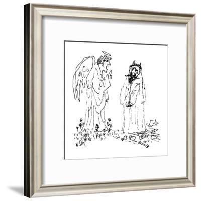 Devil cries as an angel scolds him. - New Yorker Cartoon-William Steig-Framed Premium Giclee Print