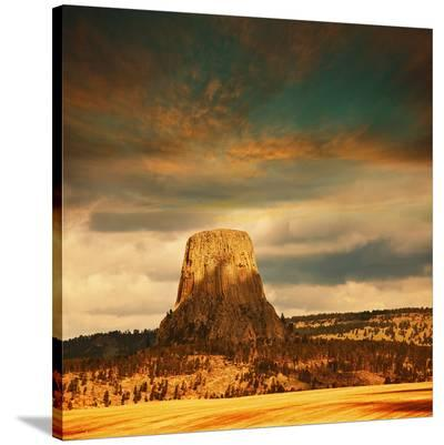 Devil's Tower at Dusk--Stretched Canvas Print