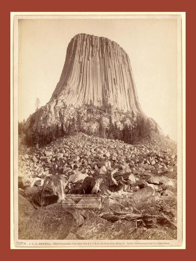 Devil's Tower. from West Side Showing Millions of Tons of Fallen Rock. Tower 800 Feet High from its-John C. H. Grabill-Giclee Print