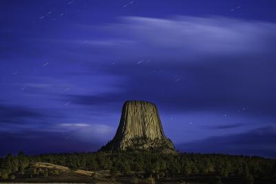 Devils Tower Sunset & Star Trails-Steve Gadomski-Photographic Print