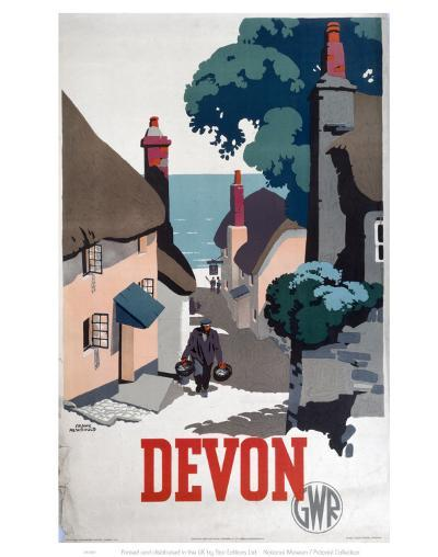 Devon GWR Old Man Walking Up Street--Art Print