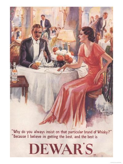 Dewar's, Whiskey Alcohol Dinners, UK, 1930--Giclee Print