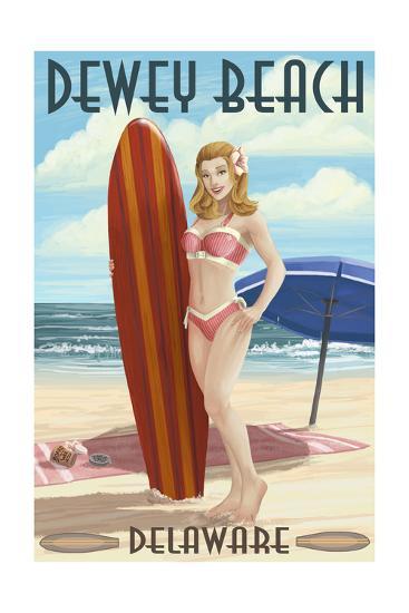 Dewey Beach, Delaware - Surfer Girl Pinup-Lantern Press-Art Print