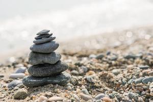 Stacked Sea Stones. Sea on the. Contra Light by Deyan Georgiev
