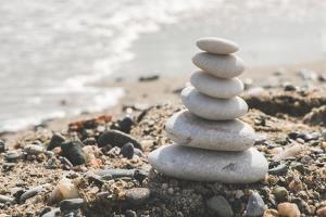 Stacked White Sea Stones by Deyan Georgiev