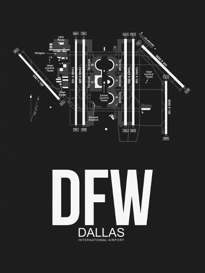 DFW Dallas Airport Black-NaxArt-Art Print