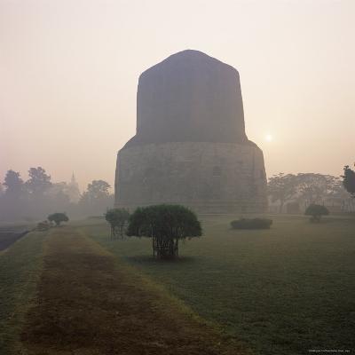 Dhamekh Stupa, Buddhist Pilgrimage Site, Sarnath, Near Varanasi, Uttar Pradesh State, India, Asia-James Gritz-Photographic Print