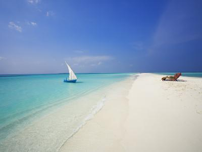 Dhoni and Lounge Chairs on Tropical Beach, Maldives, Indian Ocean-Papadopoulos Sakis-Photographic Print