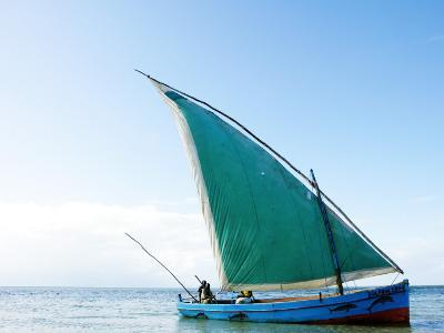 Dhow Sailing Off Coast of Vilanculos-Oliver Strewe-Photographic Print