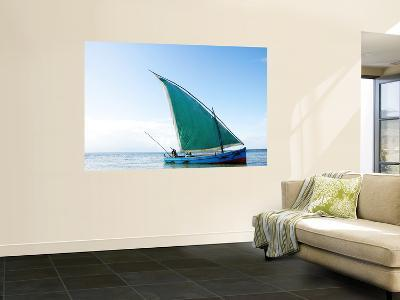 Dhow Sailing Off Coast of Vilanculos-Oliver Strewe-Wall Mural