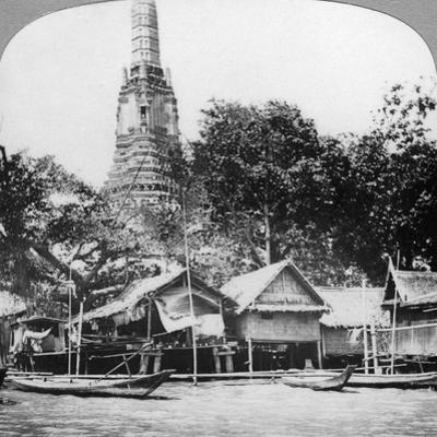Dhows and Houses on the Chao Phraya River, Bangkok, Thailand, 1900s