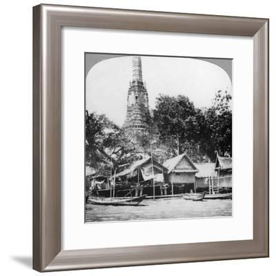 Dhows and Houses on the Chao Phraya River, Bangkok, Thailand, 1900s--Framed Giclee Print