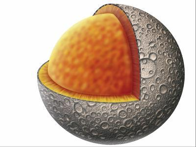 Diagram of Mercury Interior Structure Showing Crust, Mantle and Large Iron Core--Giclee Print