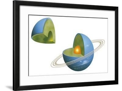 Diagram of Neptunes Interior Structure Showing Solid Core, Icy Methane, Ammonia and Water Mantle--Framed Giclee Print