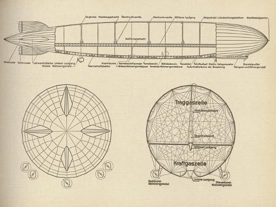 Diagram of the Interior of LZ 127 Graf Zeppelin, 1932--Giclee Print