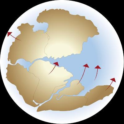 Diagram Showing Earths Continental Drift with Fragmented Pangea--Giclee Print