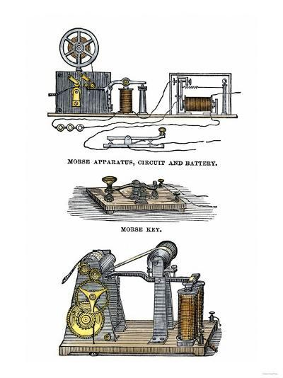 Diagrams of Morse's Telegraph Apparatus, Key, and Register--Giclee Print