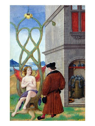 Dialogue Between the Alchemist and Nature, 1516 (Vellum)-Jean Perreal-Giclee Print