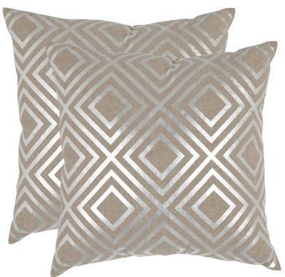"""Diamond Deco Pillow Pair - Silver 18"""""""