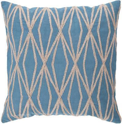 Diamond Linen Down Fill Pillow - Azure