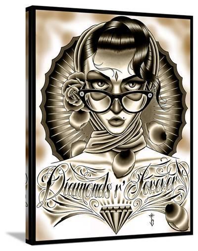 Diamonds R Forever Black-Tyler Bredeweg-Stretched Canvas Print