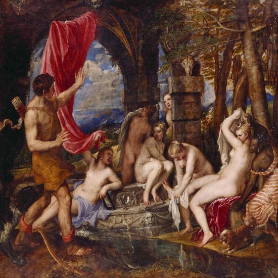Diana and Aktaeon- Tizian Tiziano Vecellio-Giclee Print