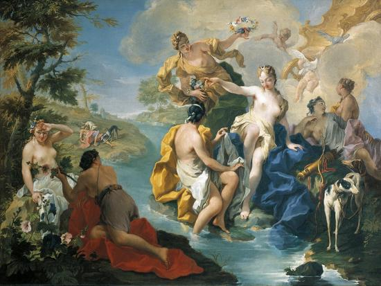 Diana and Her Nymphs, in Background Actaeon Is Being Devoured by Dogs-Giovanno Battista Pittoni-Giclee Print