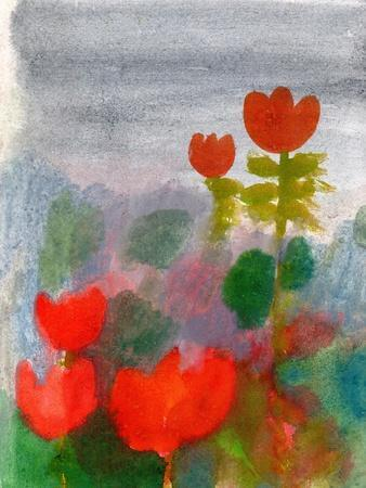 Green Life. Nature. Flowers. Red Tulips. Hand Drawn Landscape. Dark Sky. Rainy Day. Art. Summer Gar