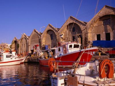16th Century Arsenali (Docks) with Fishing Boats Moored in Inner Harbour, Hania, Crete, Greece