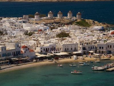Harbour Town with Disused Windmills in Distance, Mykonos Island, Southern Aegean, Greece