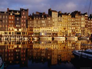 Morning Reflections of Vieux Bassin, Honfleur, Basse-Normandy, France by Diana Mayfield