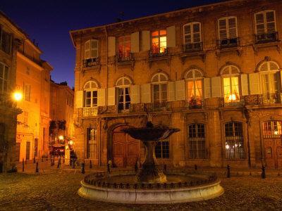 Renaissance Facades and Fountain in Place d'Alberetas at Night, Aix-En-Provence, France