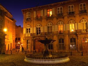 Renaissance Facades and Fountain in Place d'Alberetas at Night, Aix-En-Provence, France by Diana Mayfield