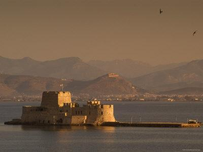 Small Island Fortress of Bourtzi, Built by Venetians in 15th Century, Nafplio, Peloponnese, Greece