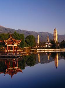 The Three Pagodas, Reflected in Lake, Dali, Yunnan, China by Diana Mayfield